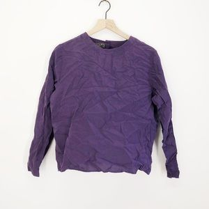 Vintage Bogari Purple Silk Long Sleeve Blouse